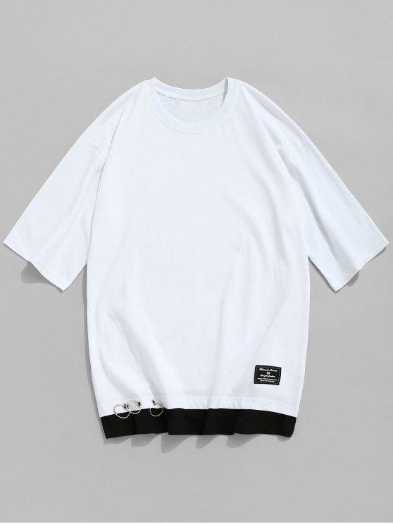 T-shirt ras du cou en coton à œillets - Blanc 3XL