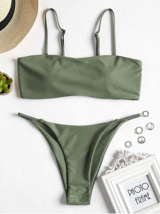 89a08417e5626 43% OFF  2019 Padded Bandeau Thong Bikini Set In DARK SEA GREEN