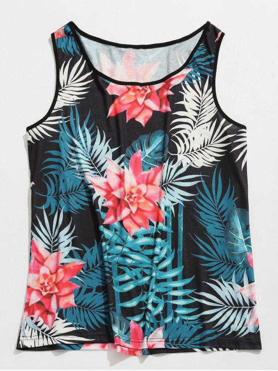 Canotta Flower Print Beach - Nero 2XL