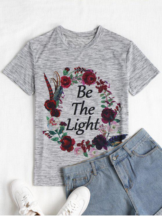 ladies Floral Letter Print Heathered Tee - GRAY L