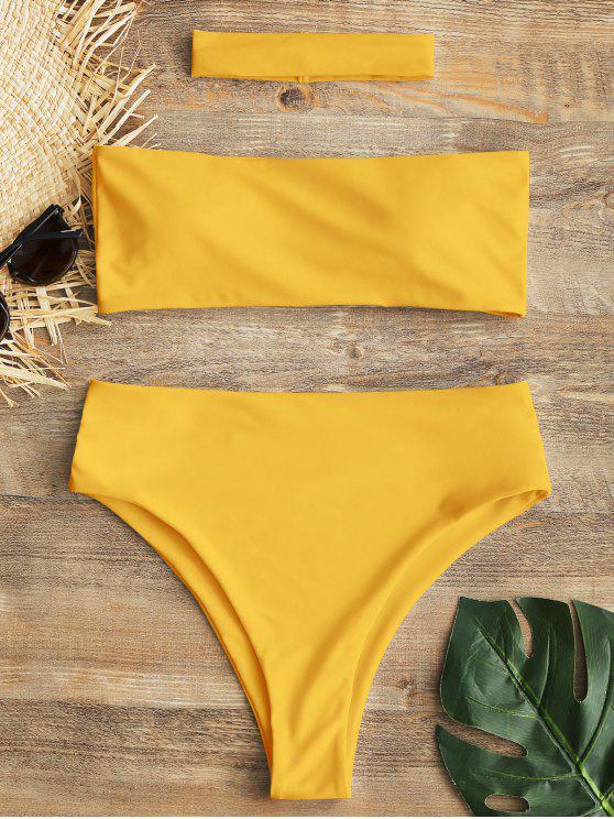 Bandeau hohe Schlitz Halsband Bikini Set - Gelb S