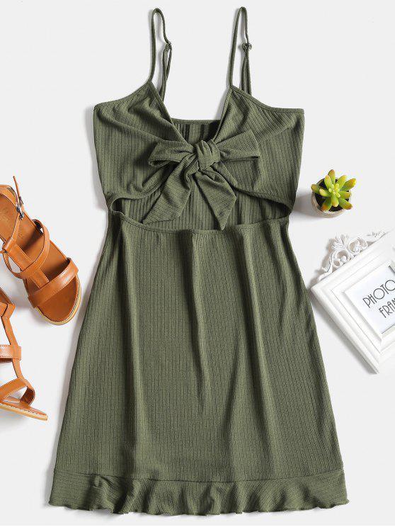 hot Ribbed Tie Knot Shift Slip Dress - ARMY GREEN S