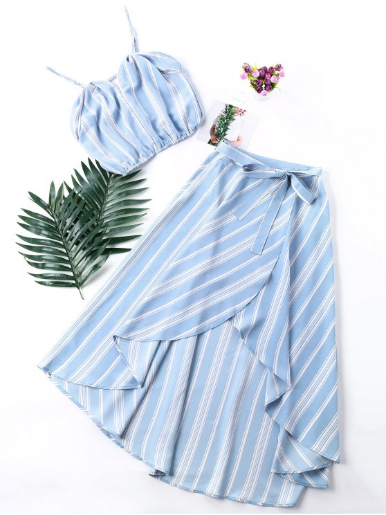 outfit Striped High Low Two Piece Maxi Dress - BABY BLUE XL