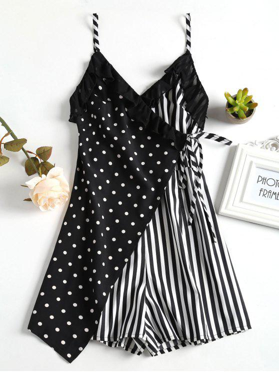 buy Spot Stripe Surplice Cute Romper - BLACK S