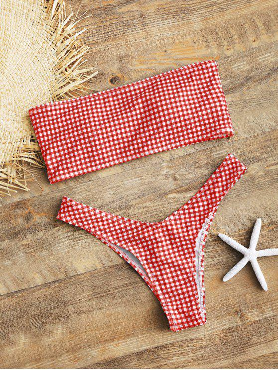 best High Cut Plaid Bandeau Bikini Set - RED S