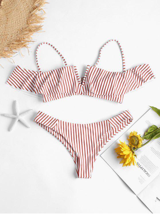 Ensemble Bikini Rayé Volanté à Jambes Hautes - Multi L