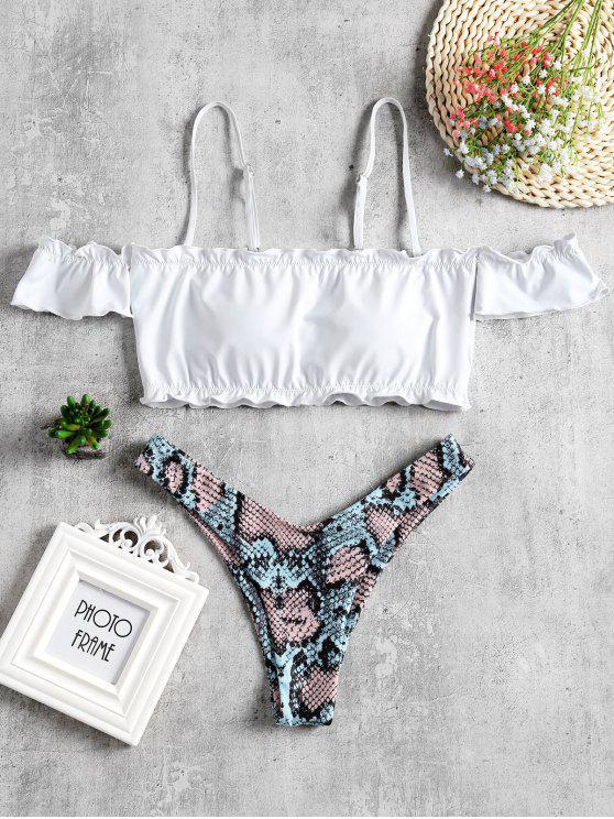 unique Snakeskin High Leg Off Shoulder Bikini Set - WHITE S