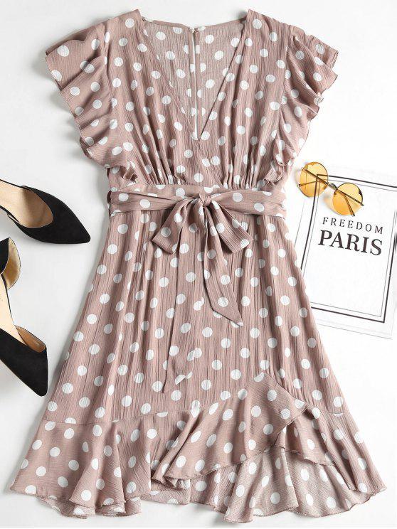 affordable Polka Dot Ruffle Skater Mini Dress - ROSY BROWN L