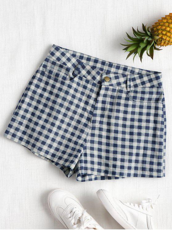 Hohe Taille Karierte Shorts - Dunkles Schieferblau S