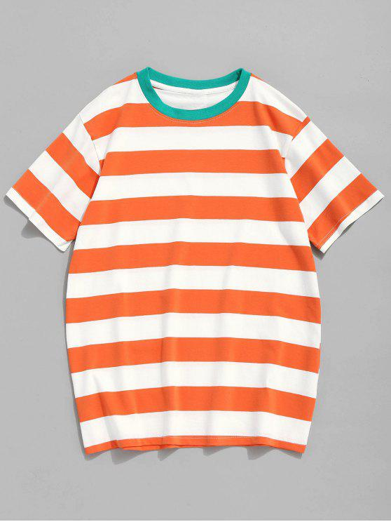 outfit Round Neck Striped Cotton Tee - TANGERINE L