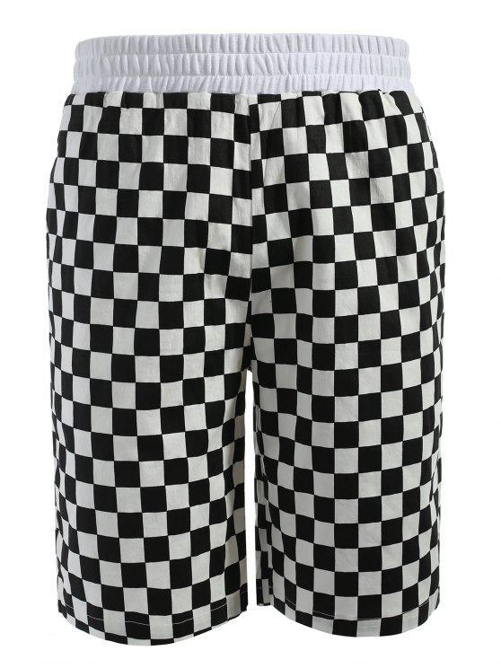 chic Grid Pattern Casual Shorts - MULTI S
