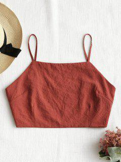 Tied Back Cropped Tank Top - Brick-red L