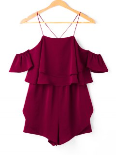 Layered Flounce Cami Romper - Red Wine M