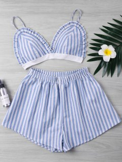 Striped Ruffle Shorts Two Piece Set - Light Blue L