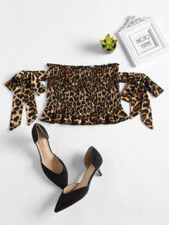 Tie-Sleeve Leopard Smocked Crop Top - Braun Xl