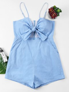 Front Knot Cami Romper - Light Blue M