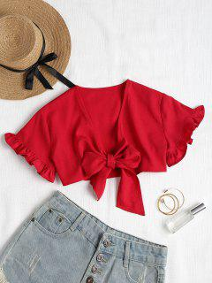 Ruffles Tie Front Top - Red L