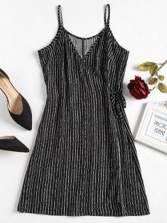 Striped Wrap Nightdress - Black M