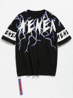 Printed Zip Drop Shoulder T-shirt - Black L