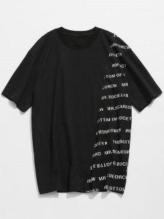 Letter Print Cotton Short Sleeve T-shirt - Black L
