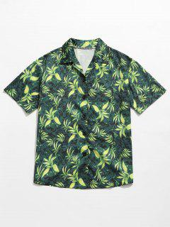 Leaves Print Summer Hawaii Shirt - Green M