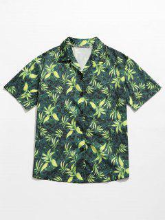 Blätter Druck Sommer Hawaii Shirt - Grün M
