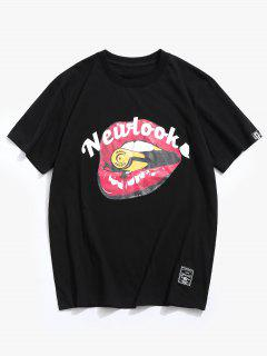 Letter Mouth Pattern Cotton Tee - Black 2xl