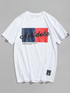 Lässiges Letter Print Baumwoll-T-Shirt - Weiß 2xl