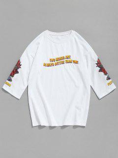 Camiseta De Algodón Bordada De Pescado Con Letras - Blanco 2xl