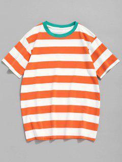 Rundhals Gestreiftes Baumwolle T-Shirt  - Mandarine L