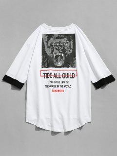 Letter Tiger Print Half Sleeve T-shirt - White M