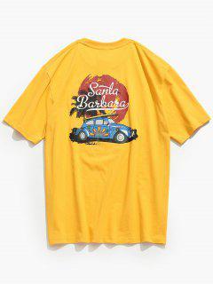 Crew Neck Car Printed T-shirt - Mustard M