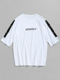 Cotton Embroidered Grommet T-shirt - White M