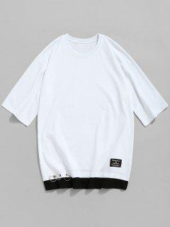 Grommet Cotton Crew Neck T-shirt - White L