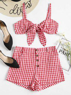 Gingham Top And Shorts Matching Set - Love Red M