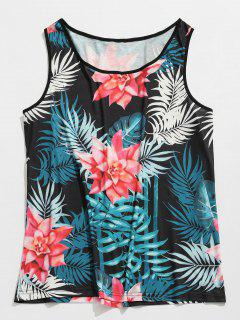 Flower Print Beach Tank Top - Black 2xl