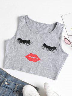 Camiseta Sin Mangas Con Estampado De Pestañas Y Labios - Gris L