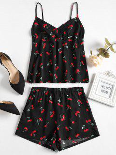 Cherry Print Pajama Set - Black L