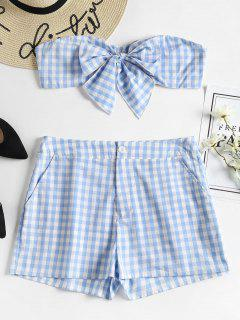 Gingham Bandeau Top And Shorts Matching Set - Light Sky Blue M