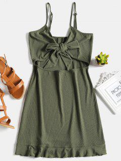 Ribbed Tie Knot Shift Slip Dress - Army Green S