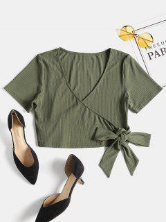 Ribbed Faux Wrap Crop Top - Army Green L
