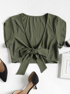 Ribbed Tie Front Crop Tee - Army Green S