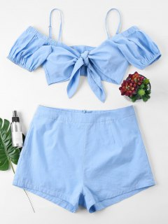 Bowknot Crop Top Shorts Two Piece Set - Light Blue M
