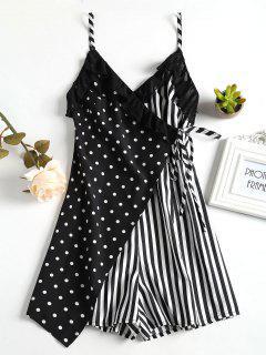 Spot Stripe Surplice Cute Romper - Black L