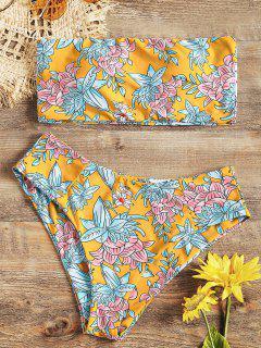 High Cut Floral Bandeau Bikini Set - Yellow L