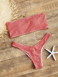High Cut Plaid Bandeau Bikini Set - Red S
