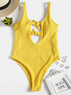 Ribbed Knotted High Cut Swimsuit - Bright Yellow L