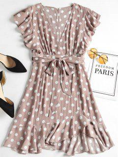 Polka Dot Ruffle Skater Mini Dress - Rosy Brown M