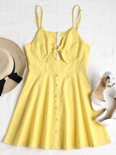 Tied Front Button Embellished Cami Dress - Yellow M