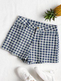 High Waist Plaid Shorts - Dark Slate Blue M